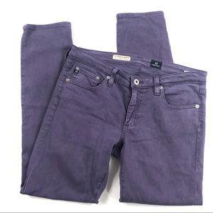 AG The Stevie Slim Straight Ankle Jeans Purple 29